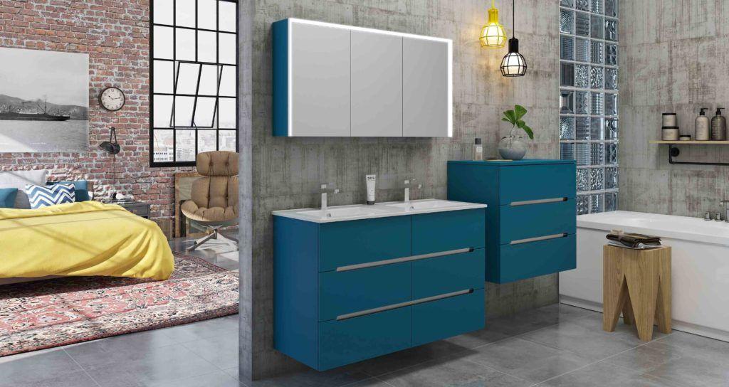 Meuble Salle De Bain Bleu Chene Anthracite Espace Careo