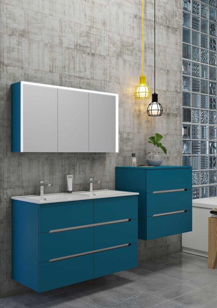 meuble-salle-de-bain-bleu-chene-anthracite-bento | Espace Careo