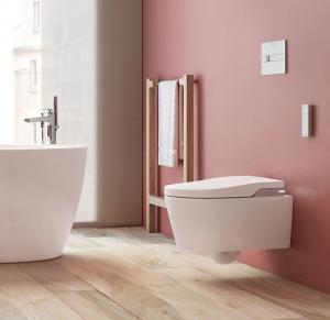 sanitaire espace toilette wc lavant in-wash en porcelaine vitrifiée, fonction lavage et séchage